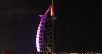 Dubai, UAE - January, 2018: The Burj El Arab hotel at night on J